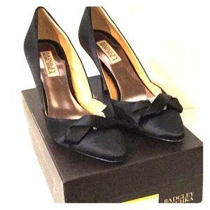 Badgley Mischka Black Satin Heels, Bow Detail, 7M